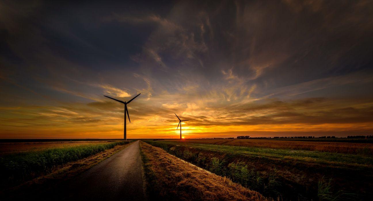 Sunrise Wind Turbine Road Sky nature wallpaper