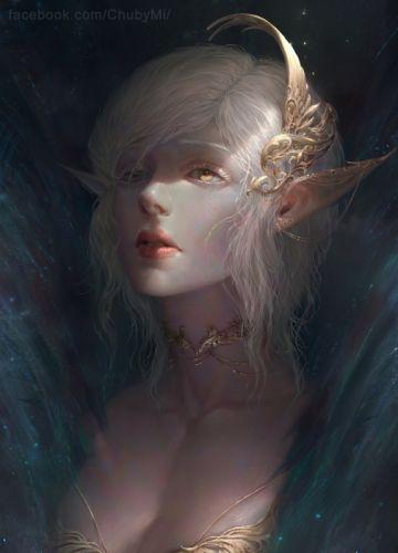 ChubyMi artist deviantart woman beautiful girl long hair fantasy elf blonde wallpaper