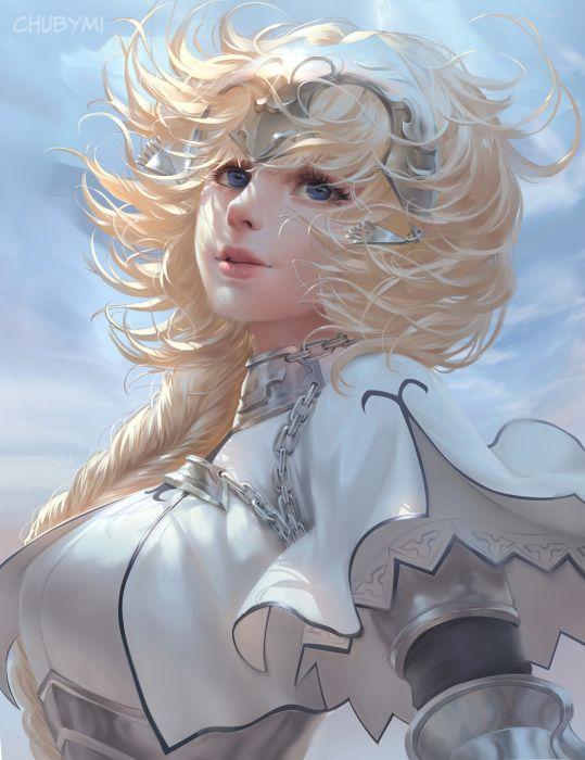 ChubyMi artist deviantart woman beautiful girl long hair fantasy blue eyes wallpaper