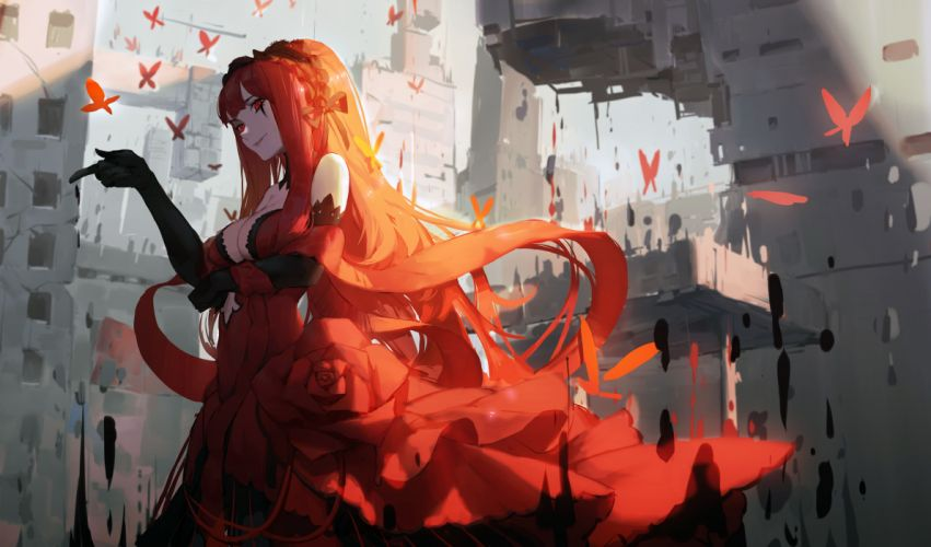 Forever 7th Capital anime girl red dress long hair wallpaper