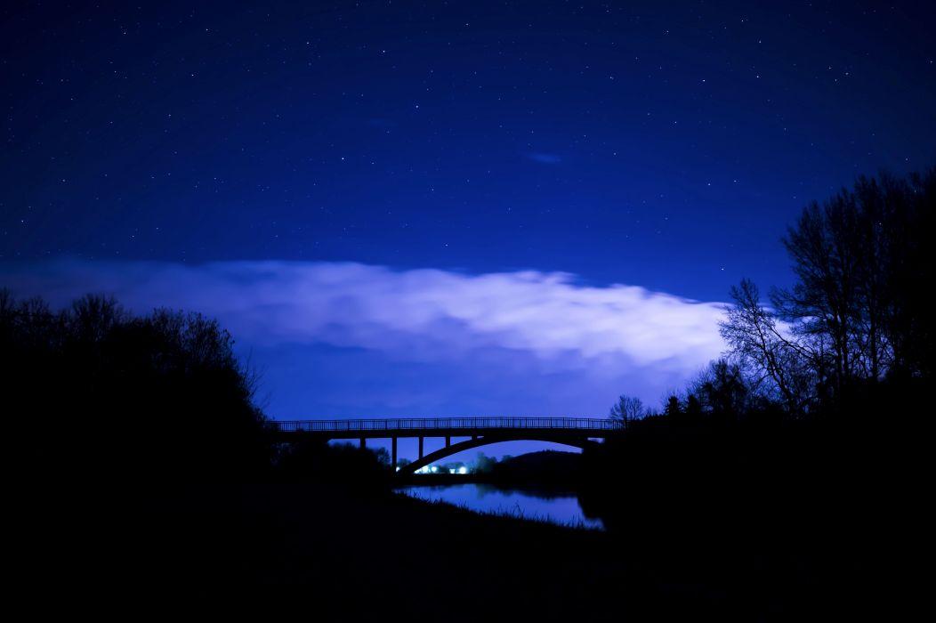Nature Bridge Night Clouds Starry Sky wallpaper