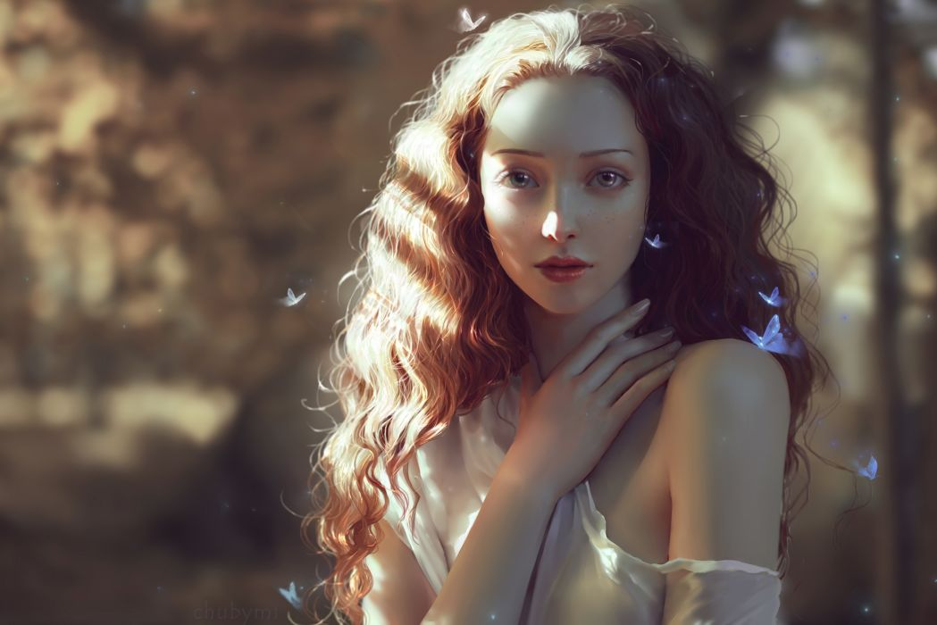 ChubyMi artist deviantart woman beautiful girl long hair fantasy wallpaper