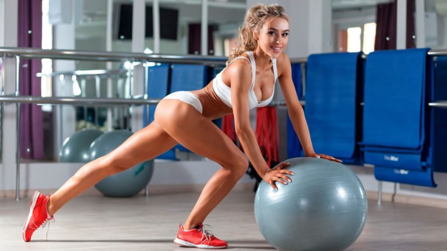 Sport sensuality sensual sexy girl woman model body fitness sportswear exercise legs knees gym sneakers smiling rmirror ball wallpaper