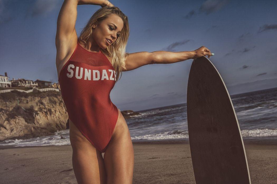 Sport sensuality sensual sexy girl woman model body fitness sportswear swimsuit surfing beach sand sea armpits tanned Lauren-Drain wallpaper