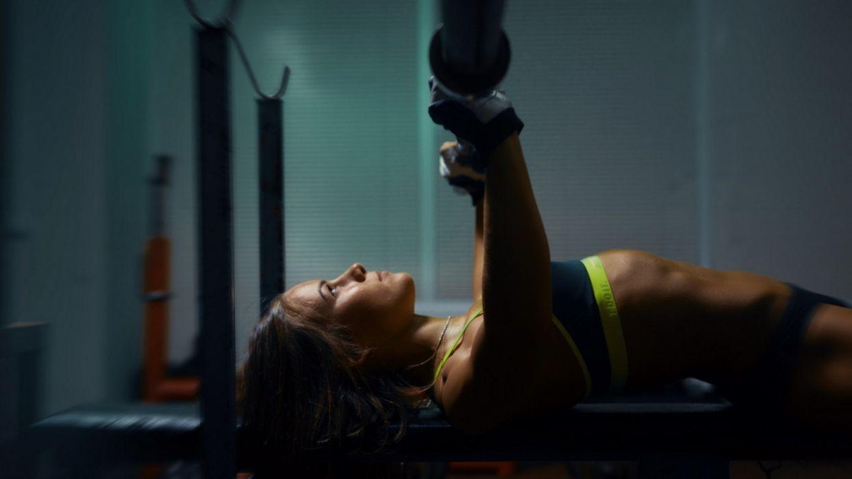 Sport sensuality sensual sexy girl woman model body fitness workout sportswear belly abs dumbbells Valeria-Guznenkova wallpaper