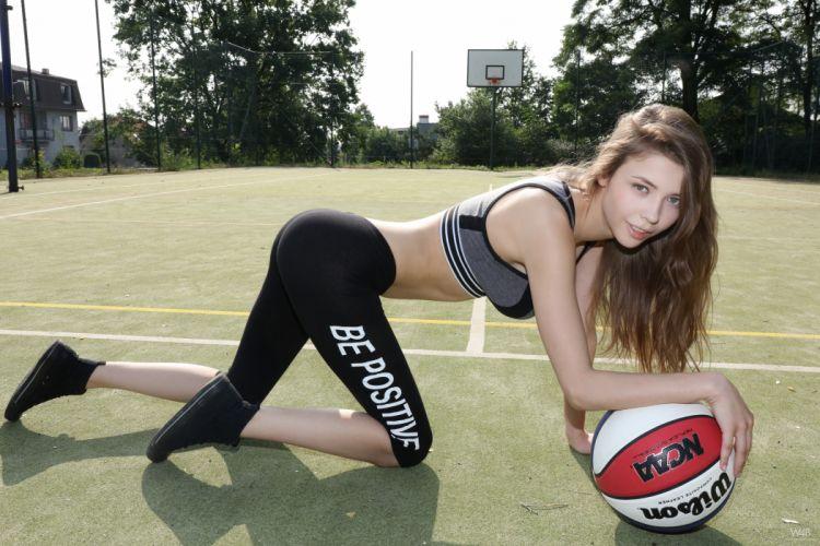 Sport sensuality sensual sexy girl woman model body fitness sportswear exercise legs knees kneeling sneakers Mila-Azul basketbal ball wallpaper
