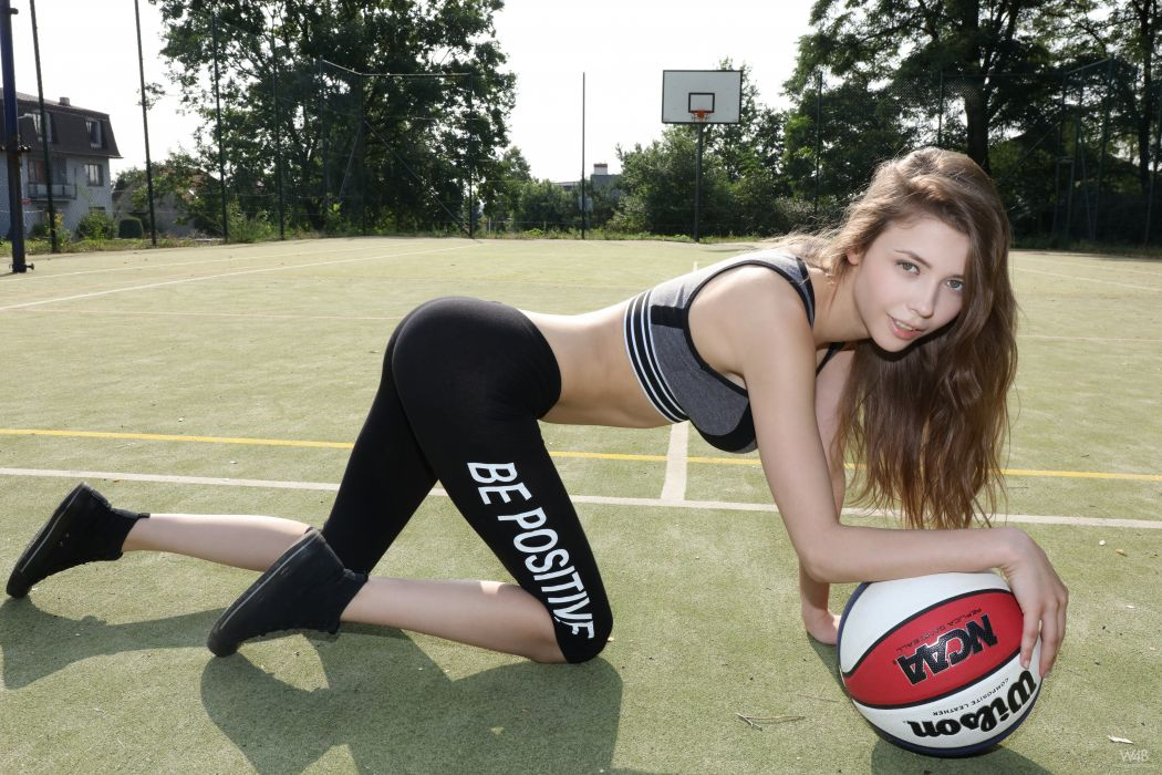 Sport sensuality sensual sexy girl woman model body fitness sportswear exercise legs knees kneeling sneakers Mila-Azul basketbal ball wallpaper