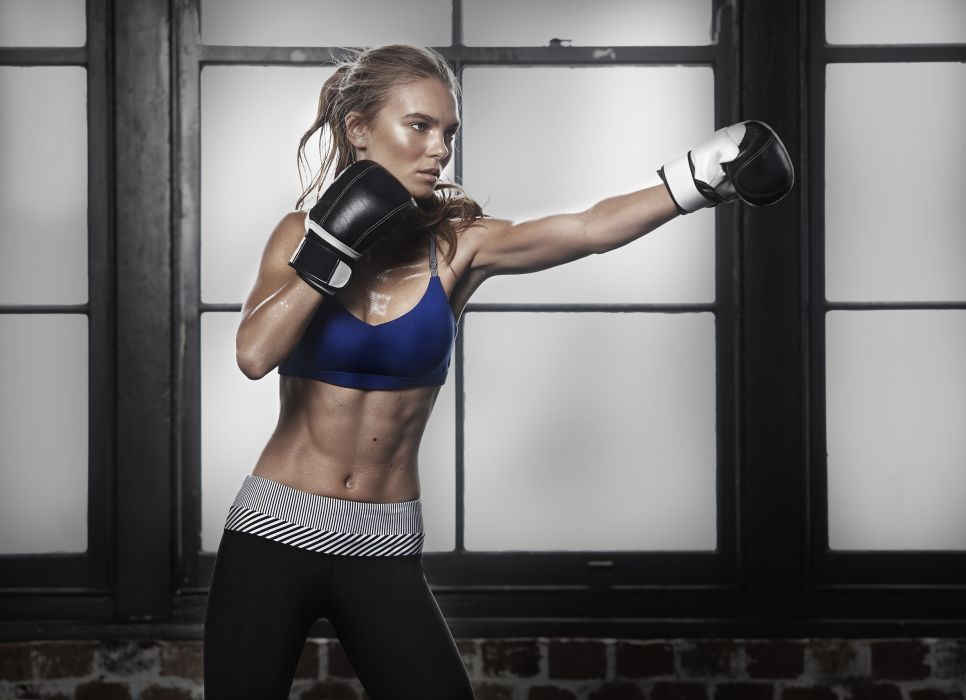 Sport sensuality sensual sexy girl woman model body fitness workout sportswear belly abs navel gym boxing sweat sweaty gloves muscles wallpaper