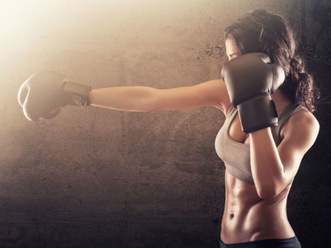 Sport sensuality sensual sexy girl woman model body fitness workout sportswear belly abs navel gym boxing sweat sweaty gloves wallpaper