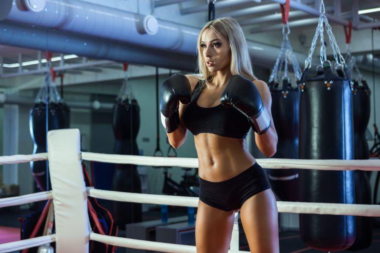 Sport sensuality sensual sexy girl woman model body fitness workout sportswear belly abs navel gym boxing sweat sweaty gloves ring bag Nastya-Ferz wallpaper
