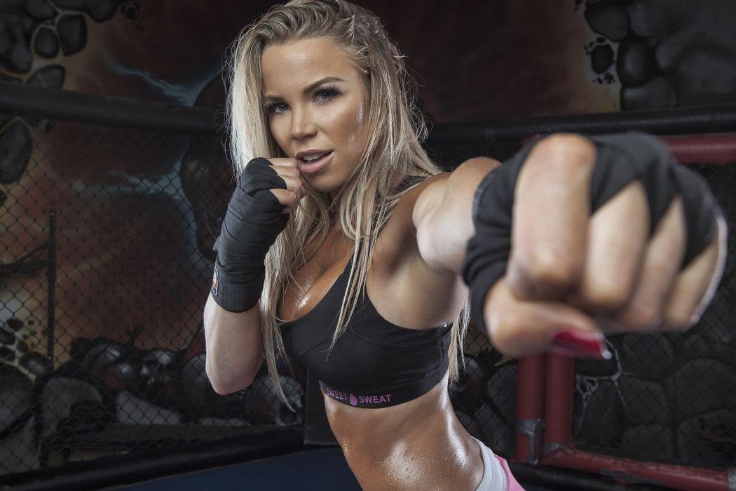 Sport sensuality sensual sexy girl woman model body fitness workout sportswear belly abs gym boxing sweat sweaty Lauren-Drain wallpaper