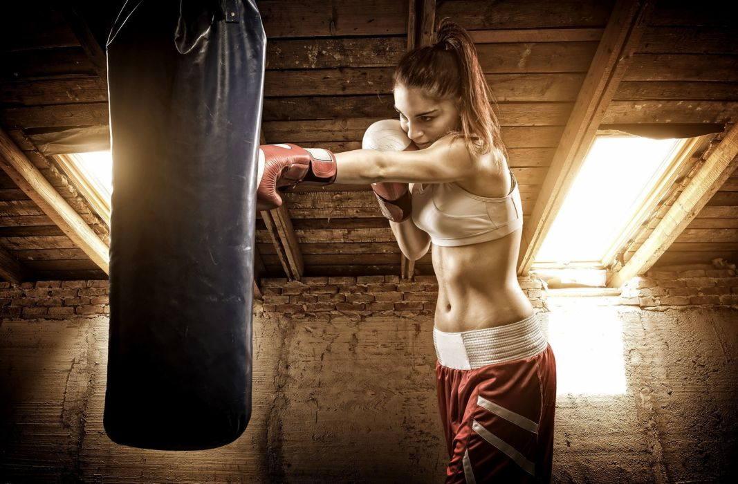 Sport sensuality sensual sexy girl woman model body fitness workout sportswear belly abs navel gym boxing sweat sweaty gloves bag punching ponytail wallpaper