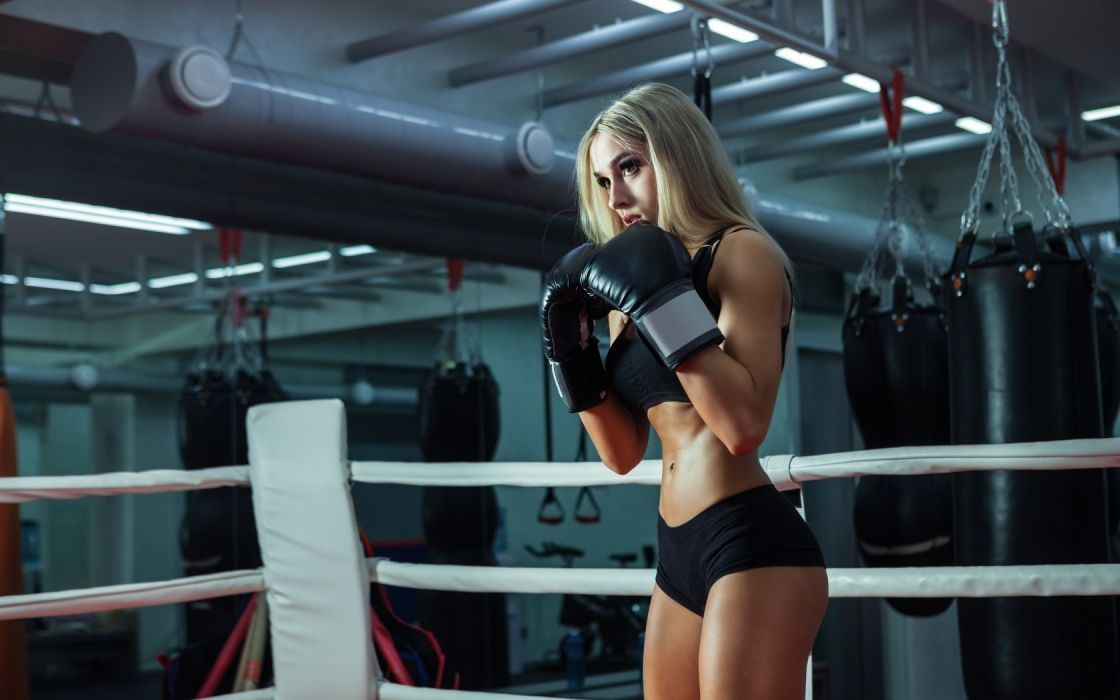 Sport sensuality sensual sexy girl woman model body fitness workout sportswear belly abs navel gym boxing sweat sweaty gloves ring Nastya-Ferz wallpaper