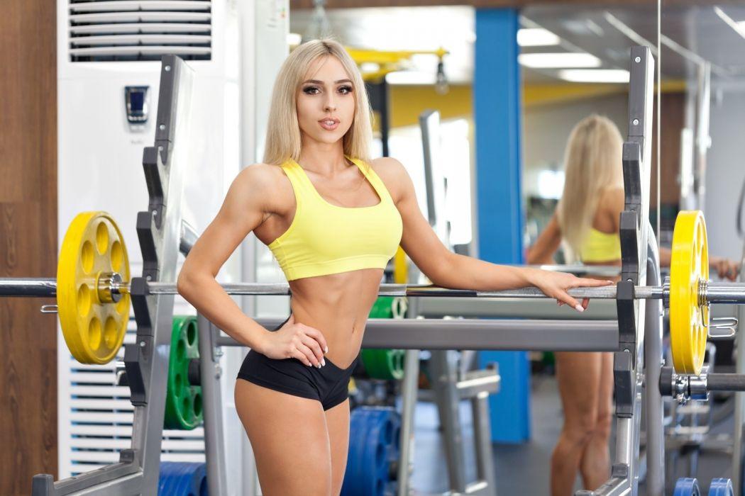 Sport sensuality sensual sexy girl woman model body fitness workout sportswear belly abs navel gym dumbbells bra blonde Nastya-Ferz wallpaper