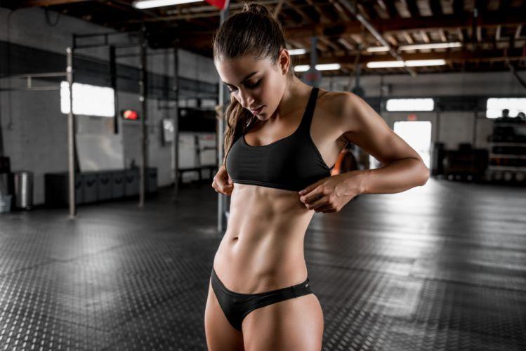Sport sensuality sensual sexy girl woman model body fitness workout sportswear belly abs navel gym Dani-Dikeman bra wallpaper