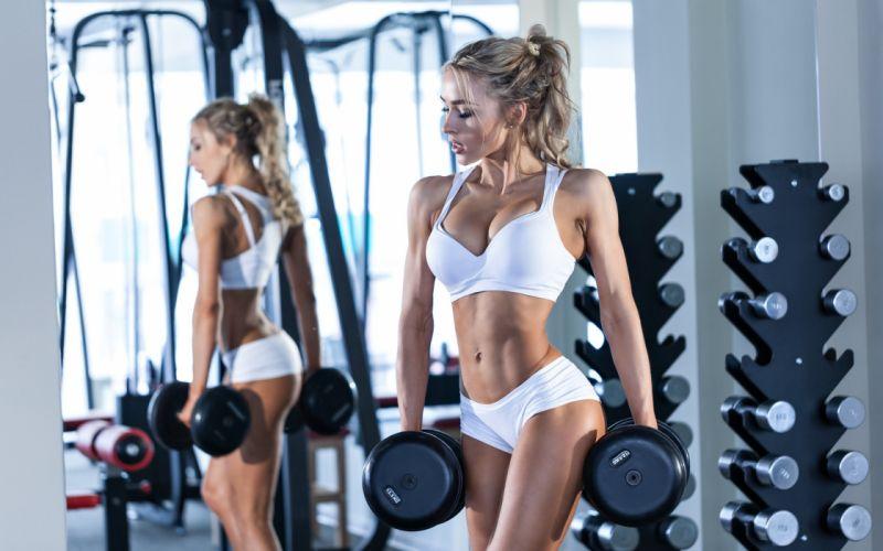 Sport sensuality sensual sexy girl woman model body fitness workout sportswear belly abs navel gym dumbbells mirror reflection Nastya-Ferz wallpaper