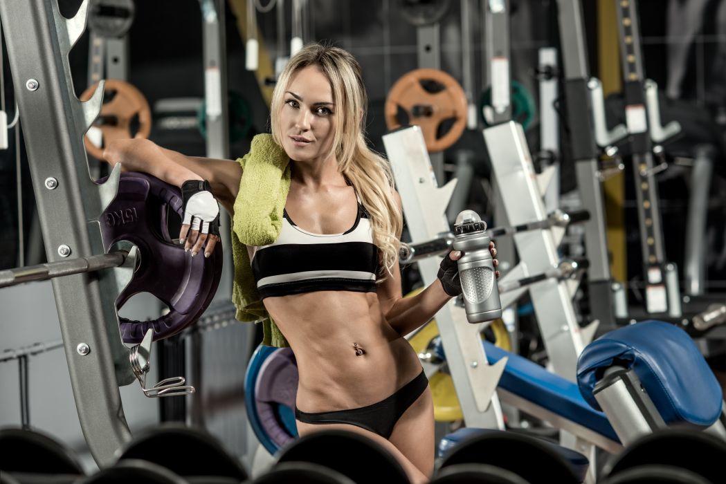 Sport sensuality sensual sexy girl woman model body fitness workout sportswear belly abs navel gym dumbbells skeeze towel wallpaper