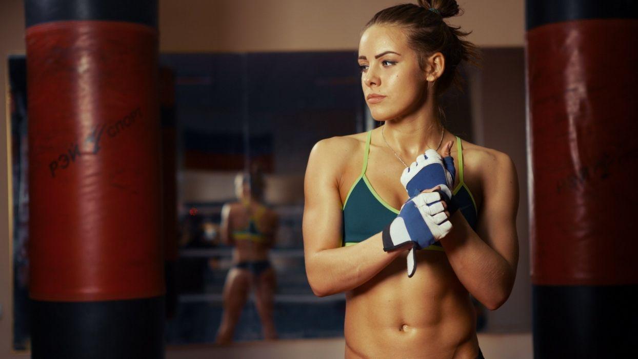 Sport sensuality sensual sexy girl woman model body fitness workout sportswear belly abs navel gym gloves bag Valeria-Guznenkova wallpaper