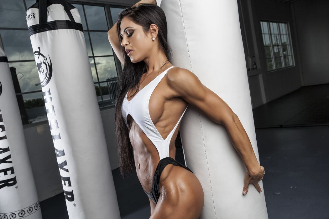 Sport sensuality sensual sexy girl woman model body fitness workout sportswear belly abs navel gym muscles arms-up Anita-Herbert wallpaper