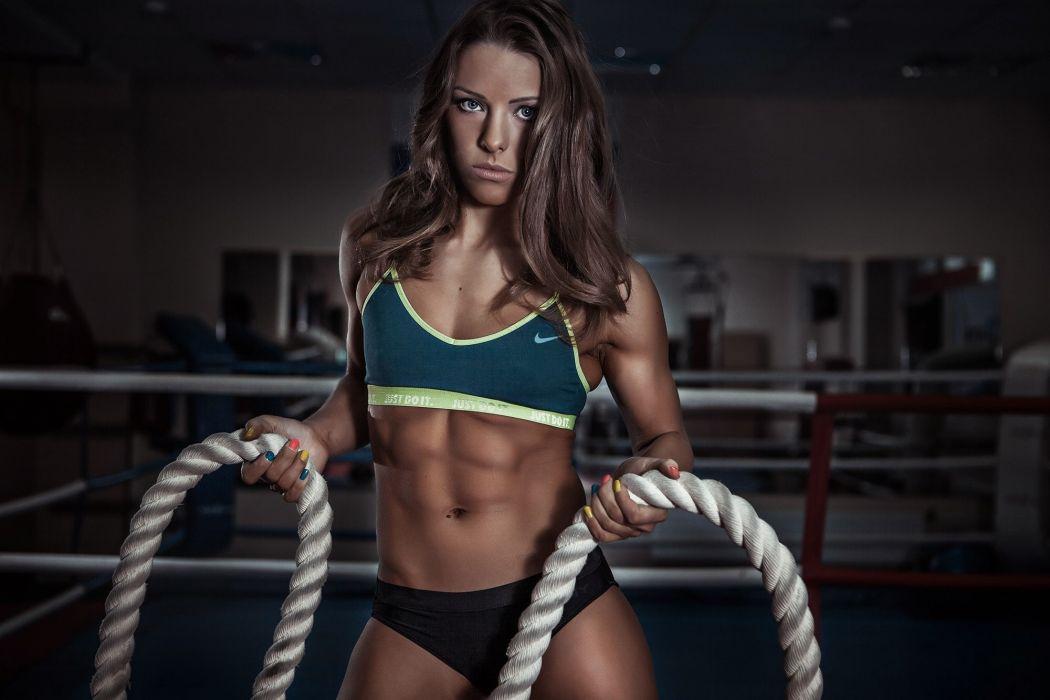 Sport sensuality sensual sexy girl woman model body fitness workout sportswear belly abs navel gym skiny rope Valeria-Guznenkova wallpaper