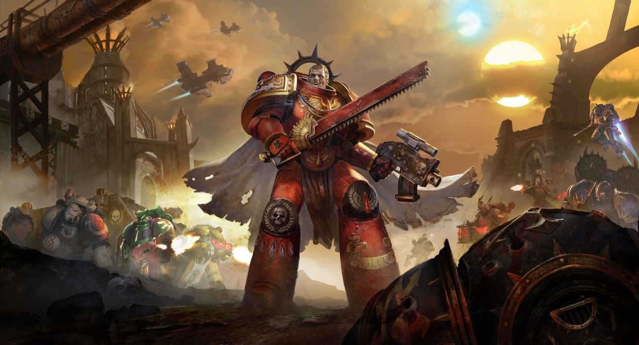 warhammer 40k fantasy fighting action warrior sci-fi futuristic fiction wallpaper