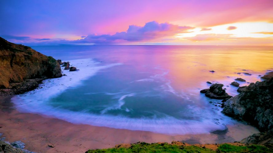 playa amanecer mar nubes naturaleza wallpaper