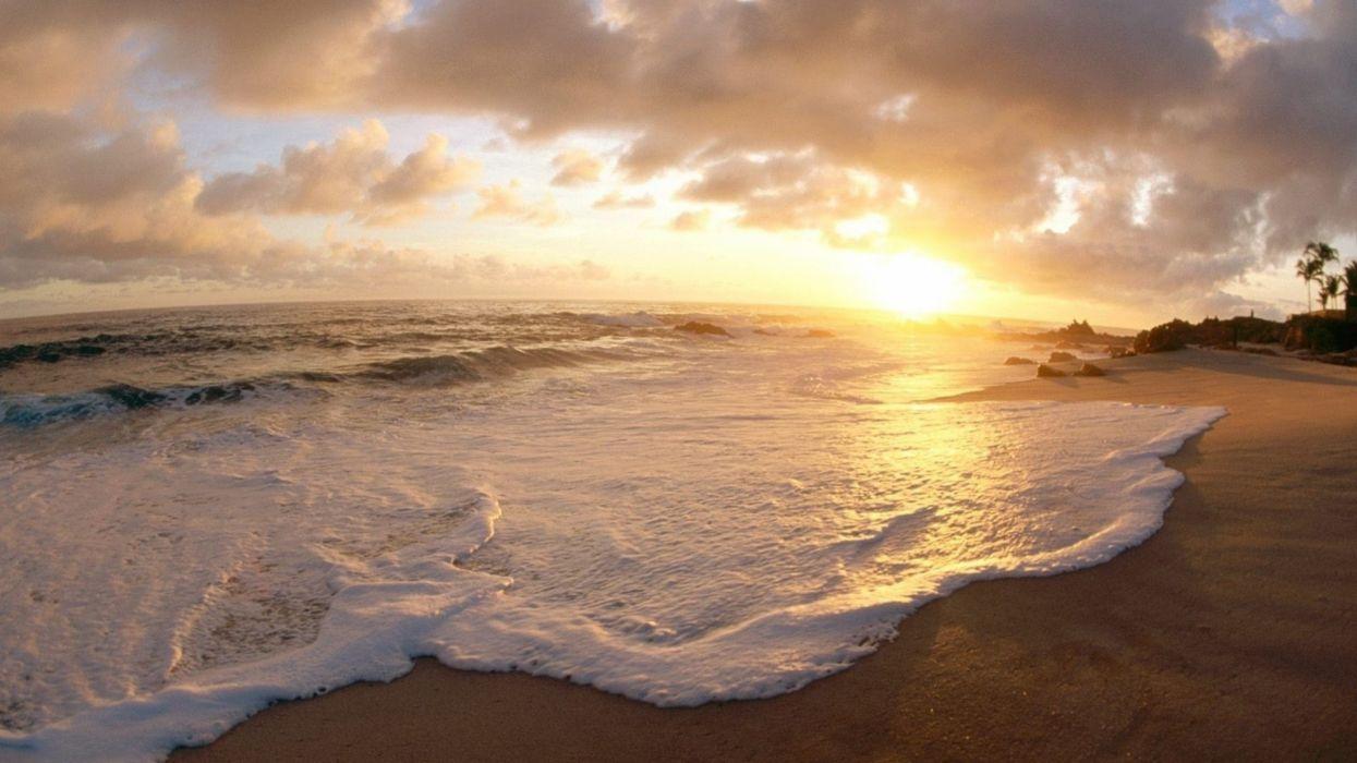 playa mar espuma puesta sol naturaleza wallpaper