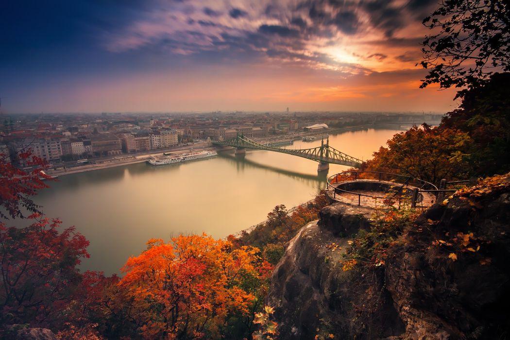 city brdge Nature Autumn wallpaper