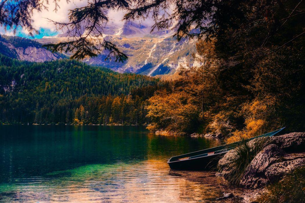 Nature Countryside Beautiful Autumn Season Sunset Boat Landscape Moutains wallpaper