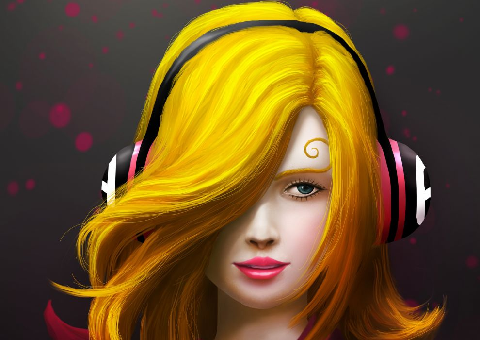 Artist Painting Art Girl Headphones wallpaper