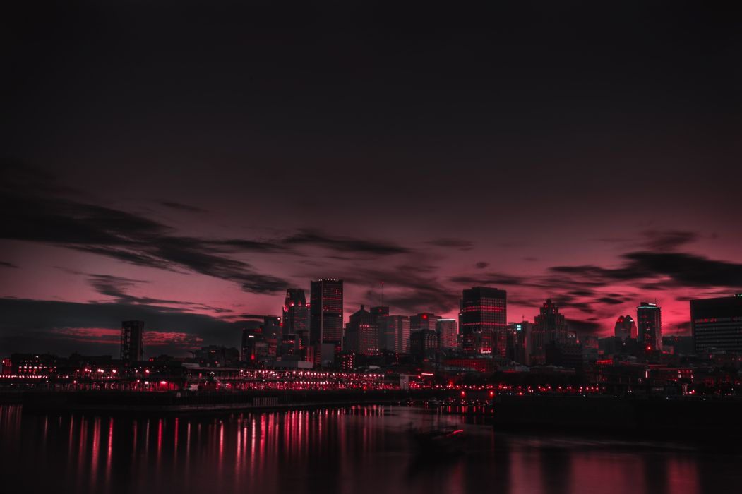 Nature Red Night Panorama Buildings Lights Red Sky wallpaper