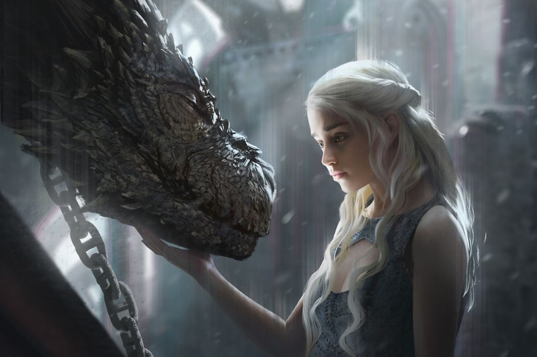 Tv Shows Daenerys Targaryen With Dragon Artwork wallpaper