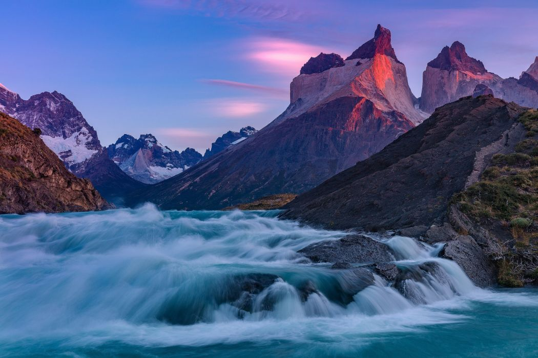 Nature River Mountains wallpaper