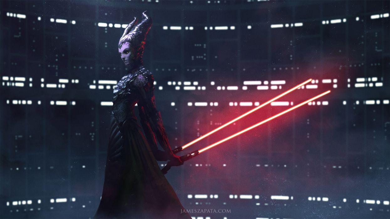 Movies Star Wars Horns Woman Lightsaber Sci Fi wallpaper