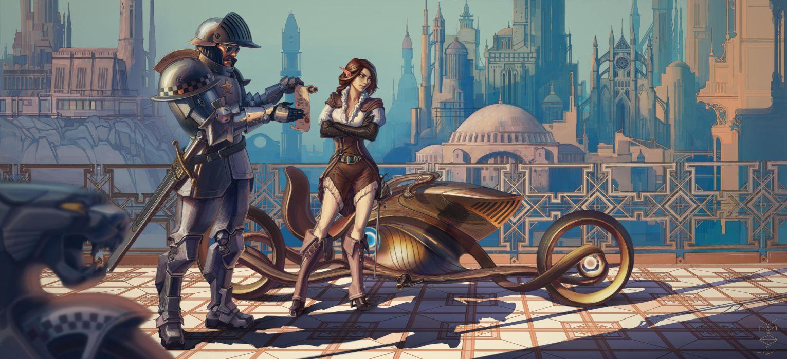 Artist Scifi Girl Cyberpunk Conceptual Bike Artwork wallpaper