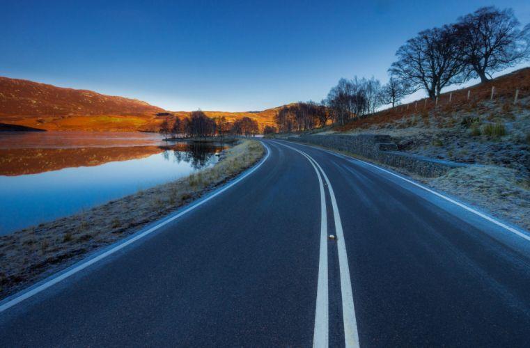 Nature Asphalt Road Landscape wallpaper