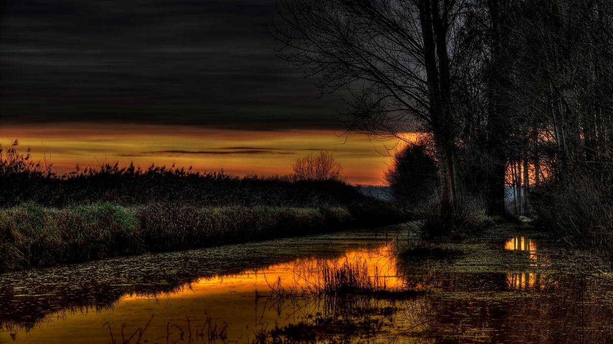 Nature Beauiful Lake At Night wallpaper