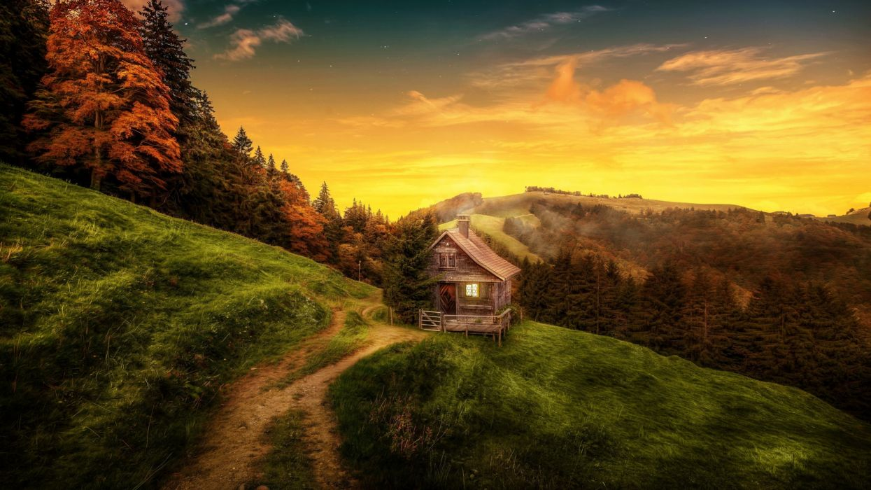 Artist House On Mountains Art wallpaper