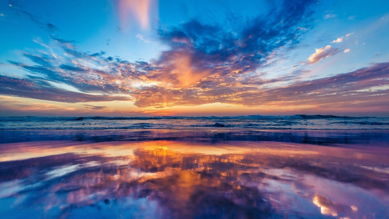 Nature Ocean Sky Sunset Beach wallpaper