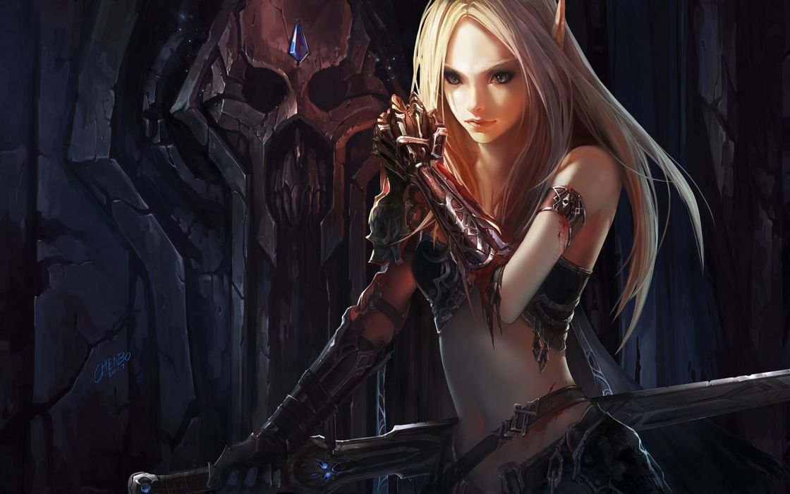 Games Chenbo League Of Legends girl long hair fantasy blonde wallpaper