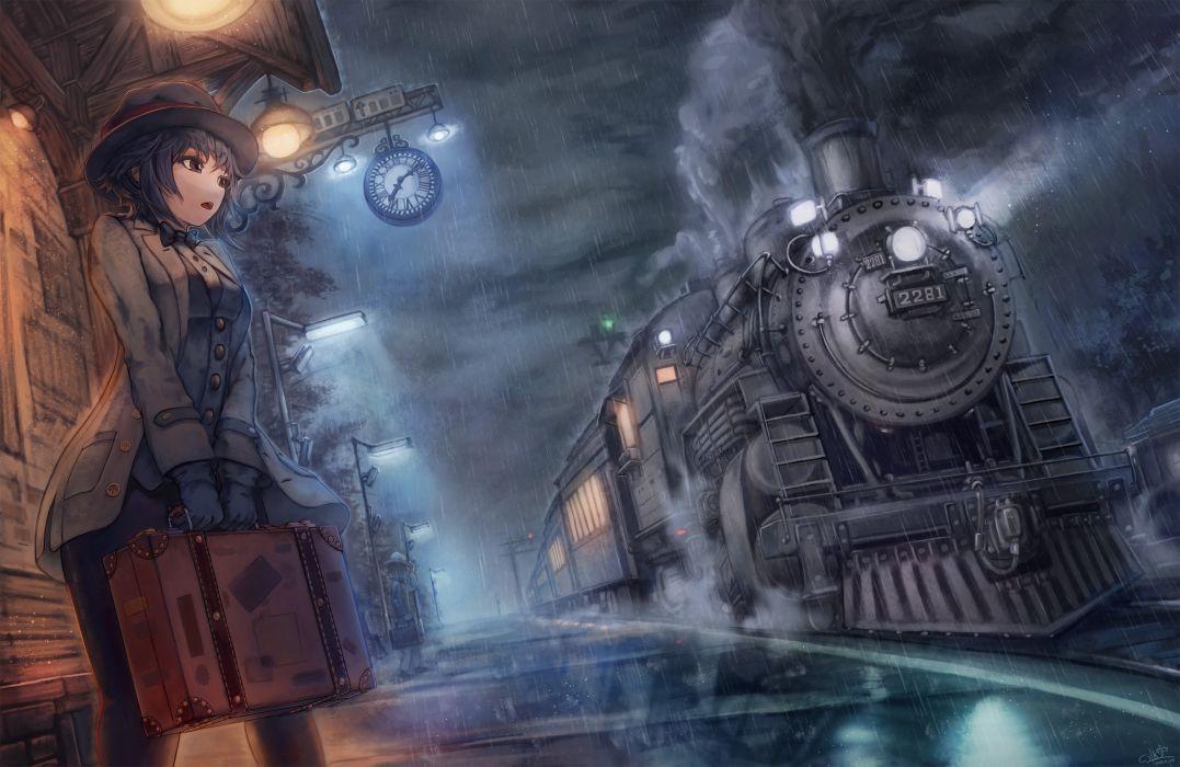 Anime Girl Waiting For Train wallpaper