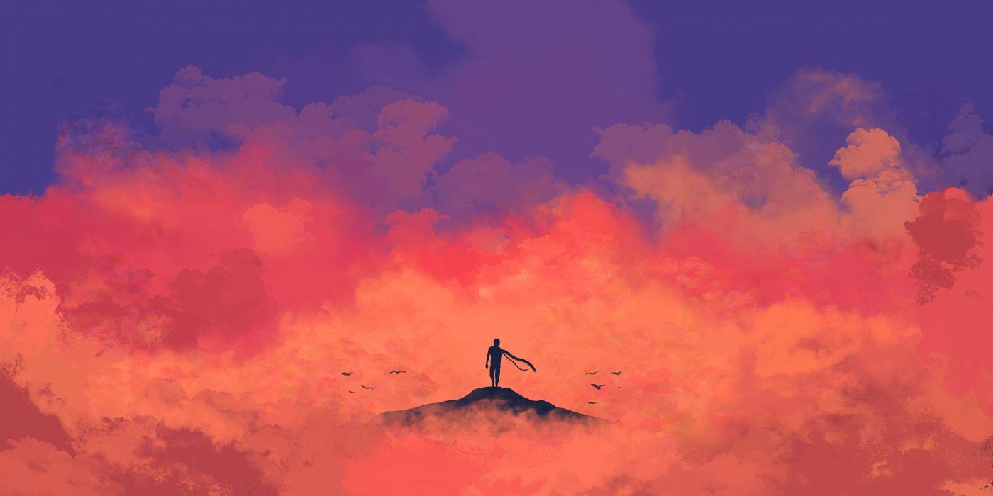 Anime Anime Minimalism girl clouds male original birds wallpaper