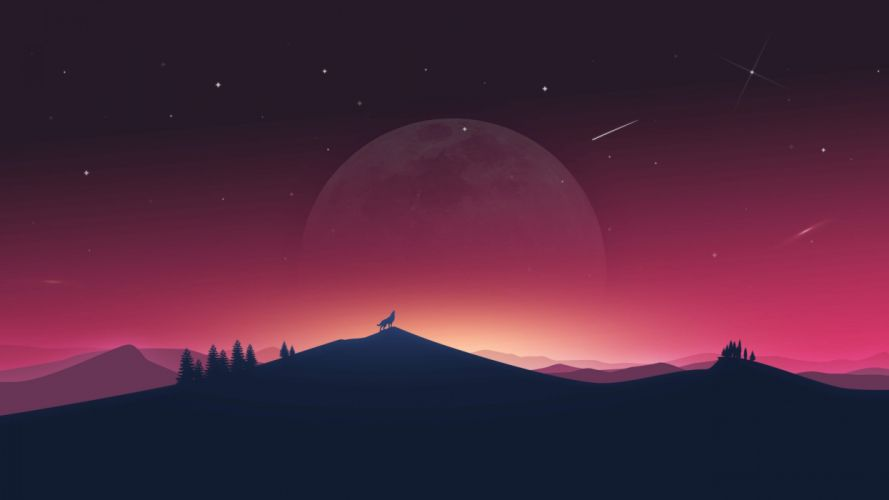 Wolf Howling to Moon fantasy wallpaper