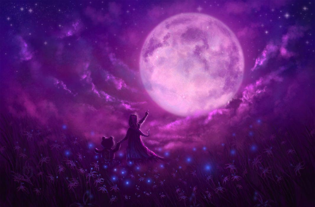 Pink Moon Teddy Bear Artwork fantasy wallpaper