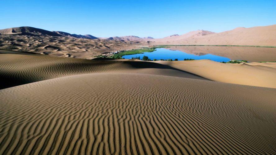 lago desierto arena dunas naturaleza wallpaper