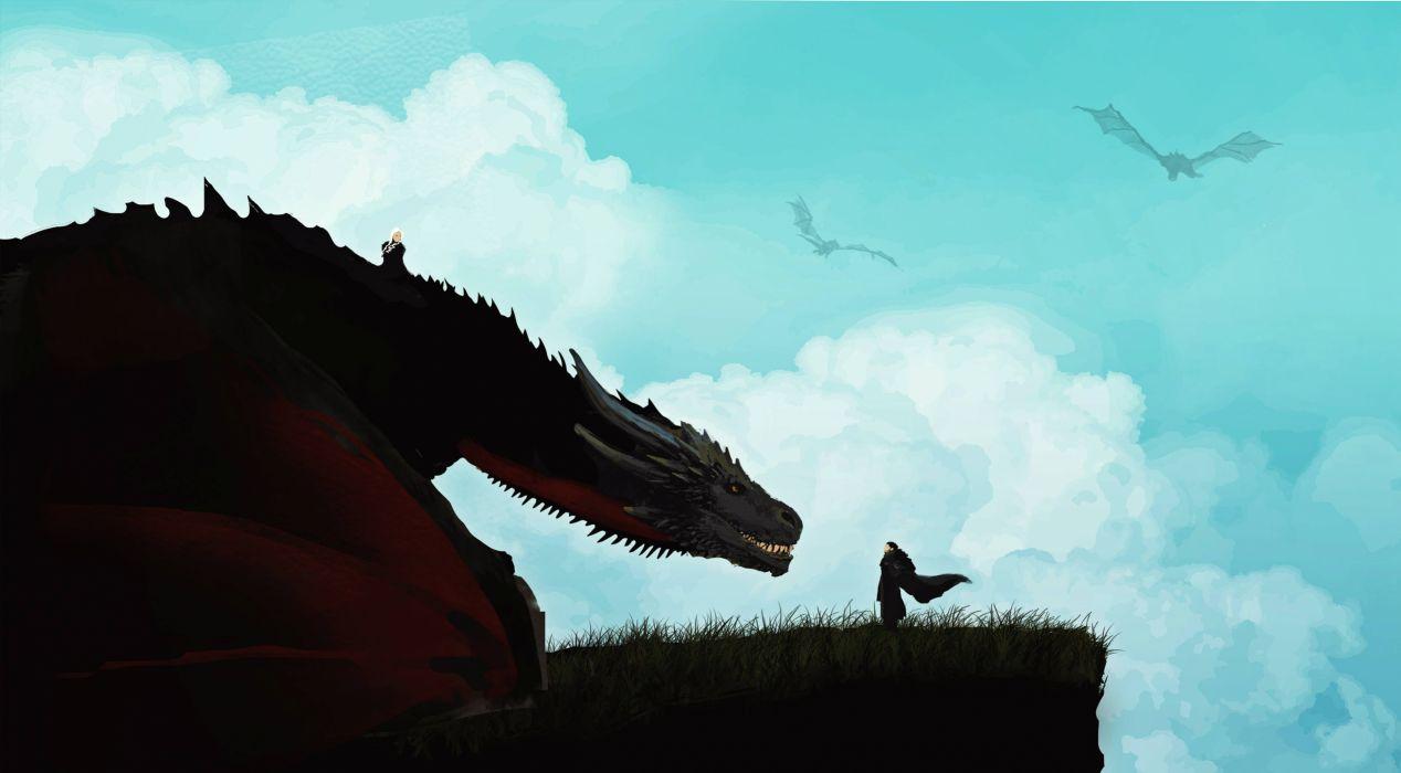 Tv Shows Jon Snow And Khalessi Dragon Artwork wallpaper