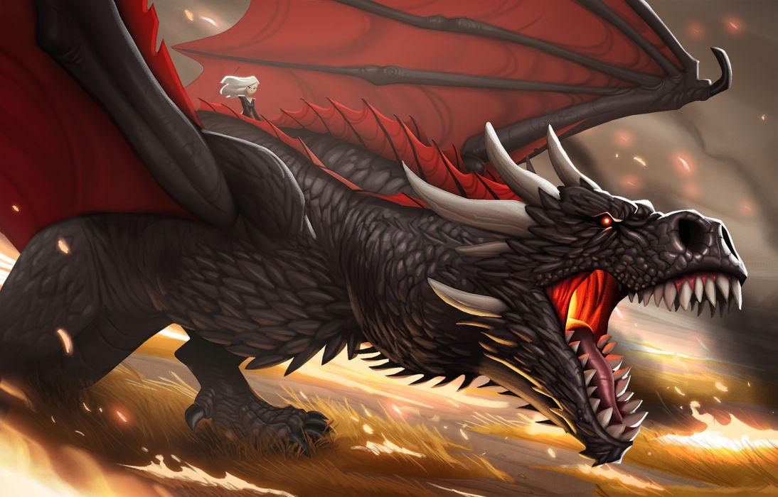 Khaleesi And Dragon Cartoon Artwork wallpaper