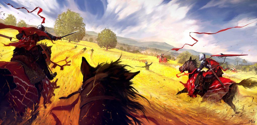 Warrior In Field Horse Hunting Civilians wallpaper