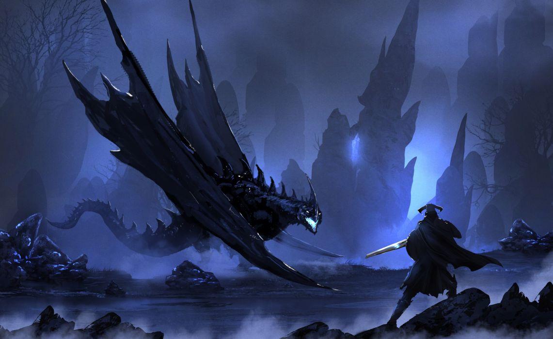 Warrior Vs Drago dragon wallpaper