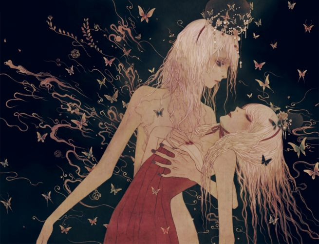 butterfly original fantasy artist beautiful girl Chaehwa Min wallpaper